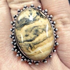Jewelry - Ocean Jasper Sterling Silver 925 Statement Ring 8